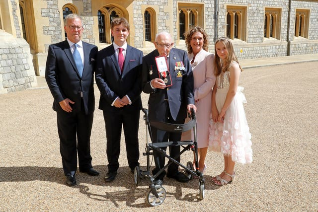 Captain Sir Thomas Moore with his family (Chris Jackson/PA)