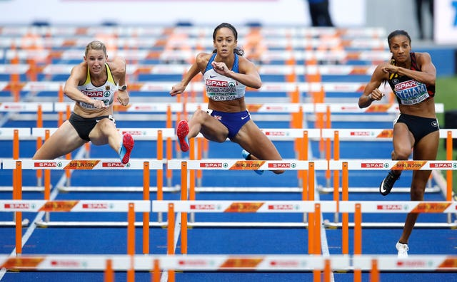 Katarina Johnson-Thompson in action against Nafi Thiam