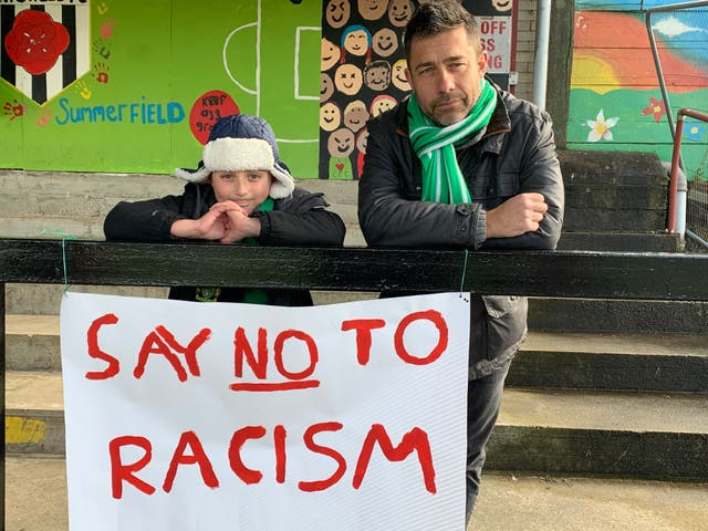 Yeovil fan Richard Denney and son George made their message clear