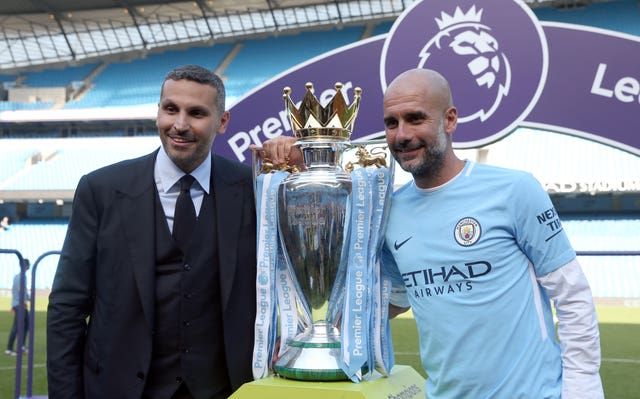 Pep Guardiola, right, will discuss the prospect of a new deal with Manchester City chairman Khaldoon Al Mubarak, left