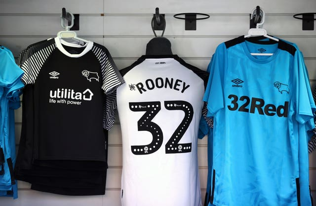 Wayne Rooney strips were on sale at Pride Park before the match