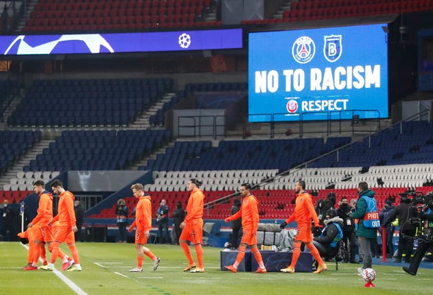 Basaksehir players arrive on the pitch before the start of the match at the Parc des Princes