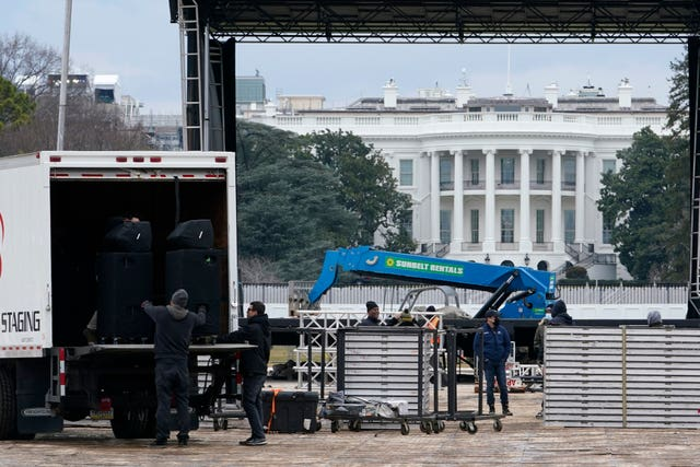 A stage is set up on the Ellipse near the White House