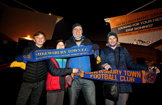 Shrewsbury fan Paul Williams attended the game against Accrington with his mother and two sons