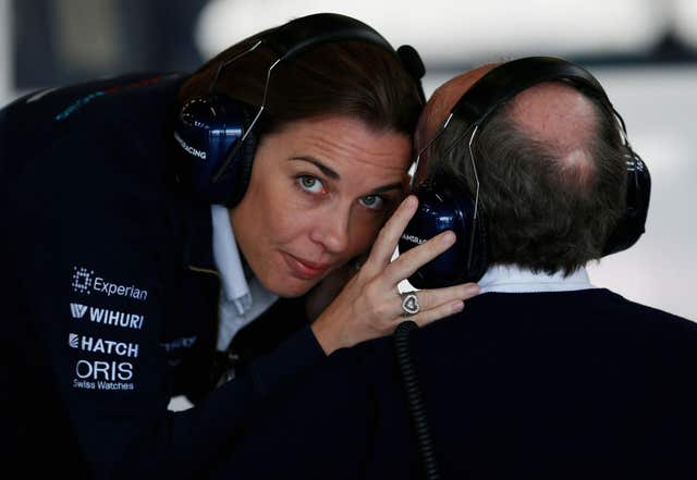 Claire Williams chats with her father Sir Frank Williams