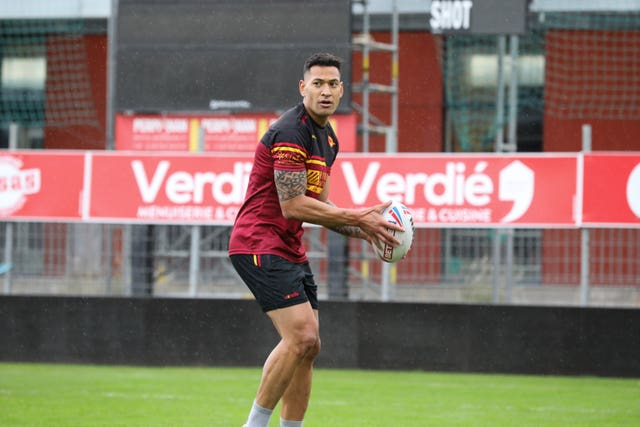 Israel Folau must wait at least another week to make his Super League debut (PA Media/Laurent Selles/Catalans Dragons)