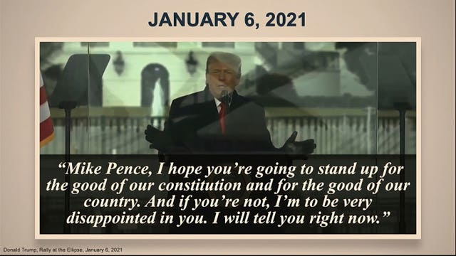 In this image from video, a quote is displayed on a photo, part of the prosecution evidence presented during the second impeachment trial of former president Donald Trump in the Senate