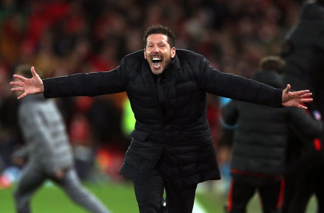 Atletico Madrid manager Diego Simeone celebrates a famous win