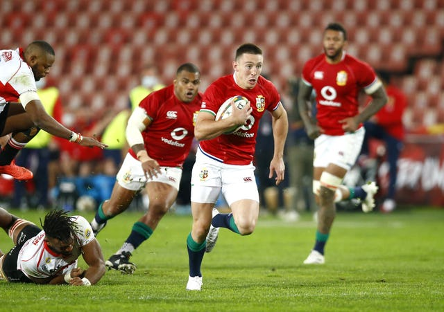 Josh Adams scored four tries as the British and Irish Lions defeated Sigma Lions 56-14 in their opener in South Africa (Steve Haag / PA).