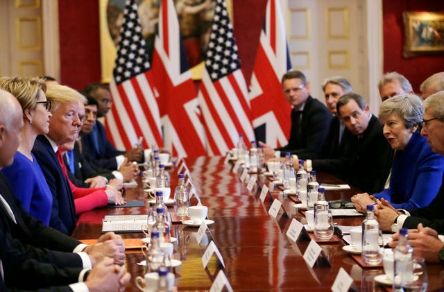 US President Donald Trump at a business breakfast meeting at St James's Palace
