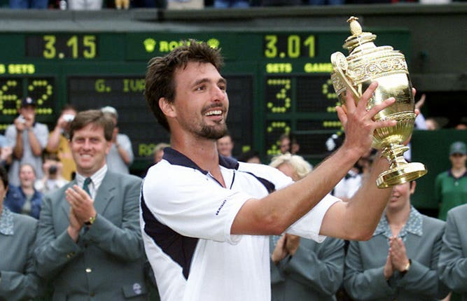 Goran Ivanisevic eventually got his hands on the Wimbledon trophy after three final defeats (Tom Hevezi/PA)