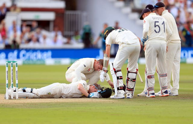 Smith was struck on the neck by a bouncer from debutant Jofra Archer. He returned to bat and made 92 but was ruled out of the rest of the Test and the third match at Headingley with concussion