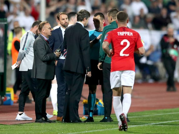 England manager Gareth Southgate talks to the referee during the Bulgaria v England match in Sofia
