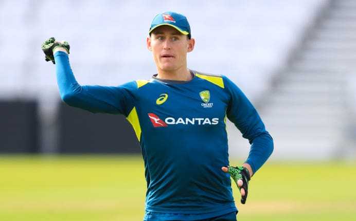 Australia's Marnus Labuschagne was hit in the nets before continuing