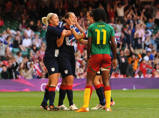 Casey Stoney (centre) captained the British women's team at London 2012 (Andrew Matthews/PA).