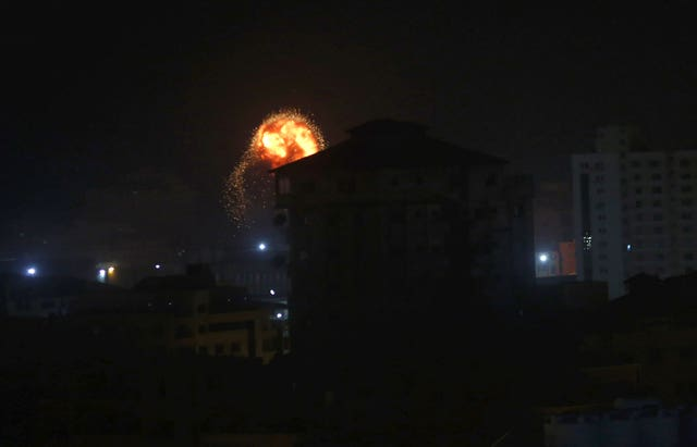 An explosion caused by Israeli air strikes on Gaza City