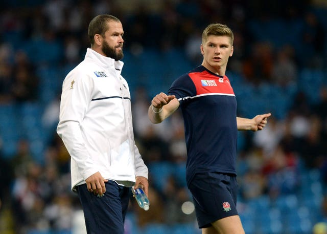 Andy Farrell (left) will be in the opposing camp to son Owen (right)