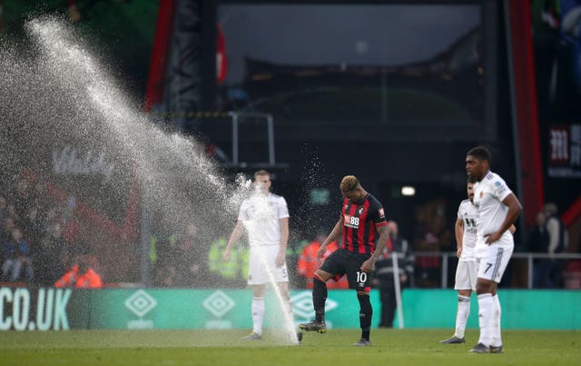 Jordon Ibe takes matters into this own hands after Bournemouth's home defeat to Wolves is briefly interrupted by a sprinkler malfunction. Winger Ibe left the Vitality Stadium before the end of the prolonged season having managed just five Premier League goals following a £16million move from Liverpool in 2016