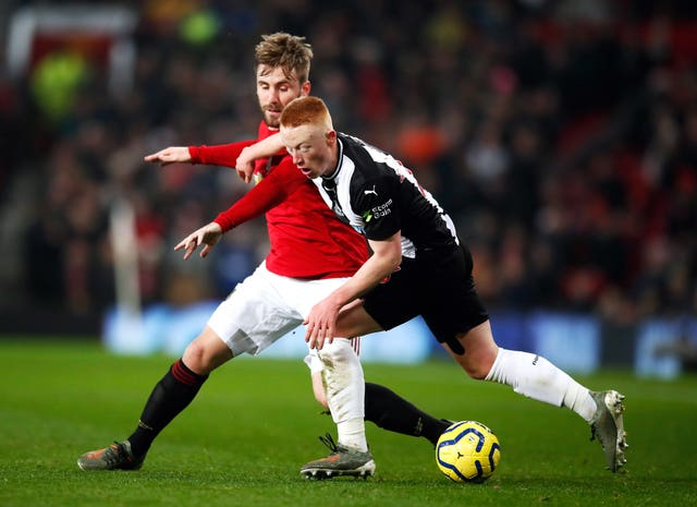Matty Longstaff battles with Luke Shaw on Boxing Day