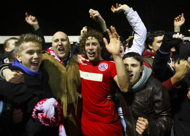 Crawley beat Derby in the FA Cup third round in 2011 (Chris Ison/PA).