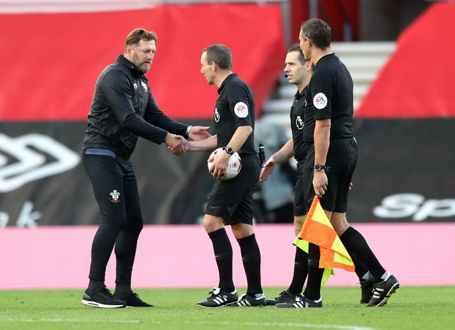 Southampton manager Ralph Hasenhuttl speaks to match officials after the final whistle
