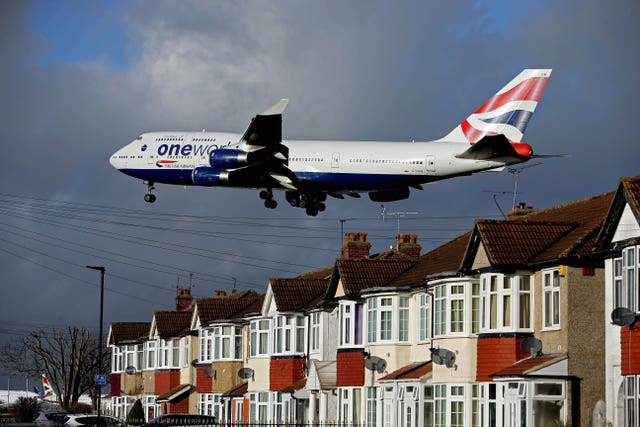 A British Airways Boeing 747 plane landing at Heathrow Airport (Steve Parsons/PA)
