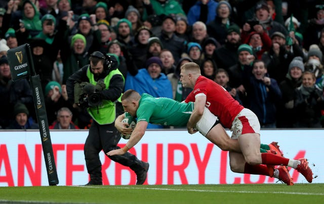 Andrew Conway scores Ireland's fourth try as their Dublin dominance against Wales continued with a 24-14 bonus-point victory at the Aviva Stadium