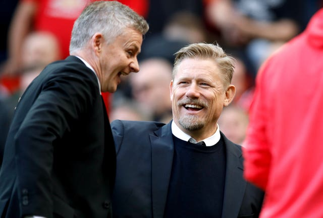 Peter Schmeichel, right, was watching his old team-mate Ole Gunnar Solskjaer's side