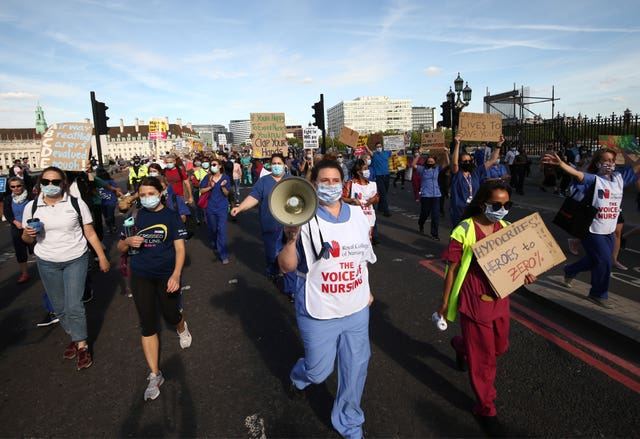 NHS workers march from St Thomas' Hospital to Downing Street