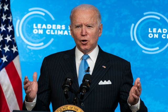President Joe Biden speaks to the virtual Leaders' Summit on Climate from the East Room of the White House