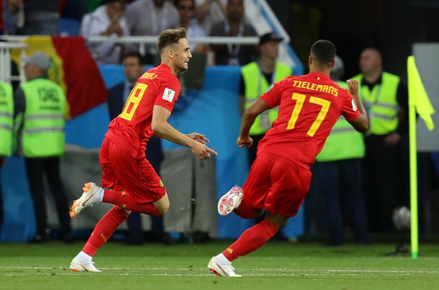 Belgium's Adnan Januzaj, left, celebrates scoring against England