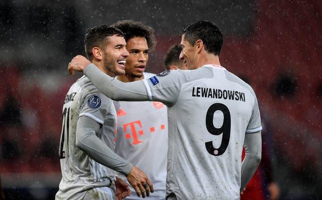 Bayern Munich's Lucas Hernandez, Leroy Sane and Robert Lewandowski all scored in a 6-2 win at Red Bull Salzburg