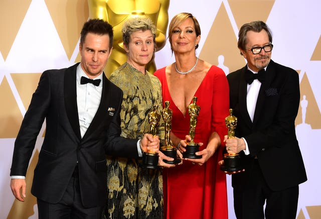 McDormand flaunts her award with Sam Rockwell, Allison Janney and Gary Oldman
