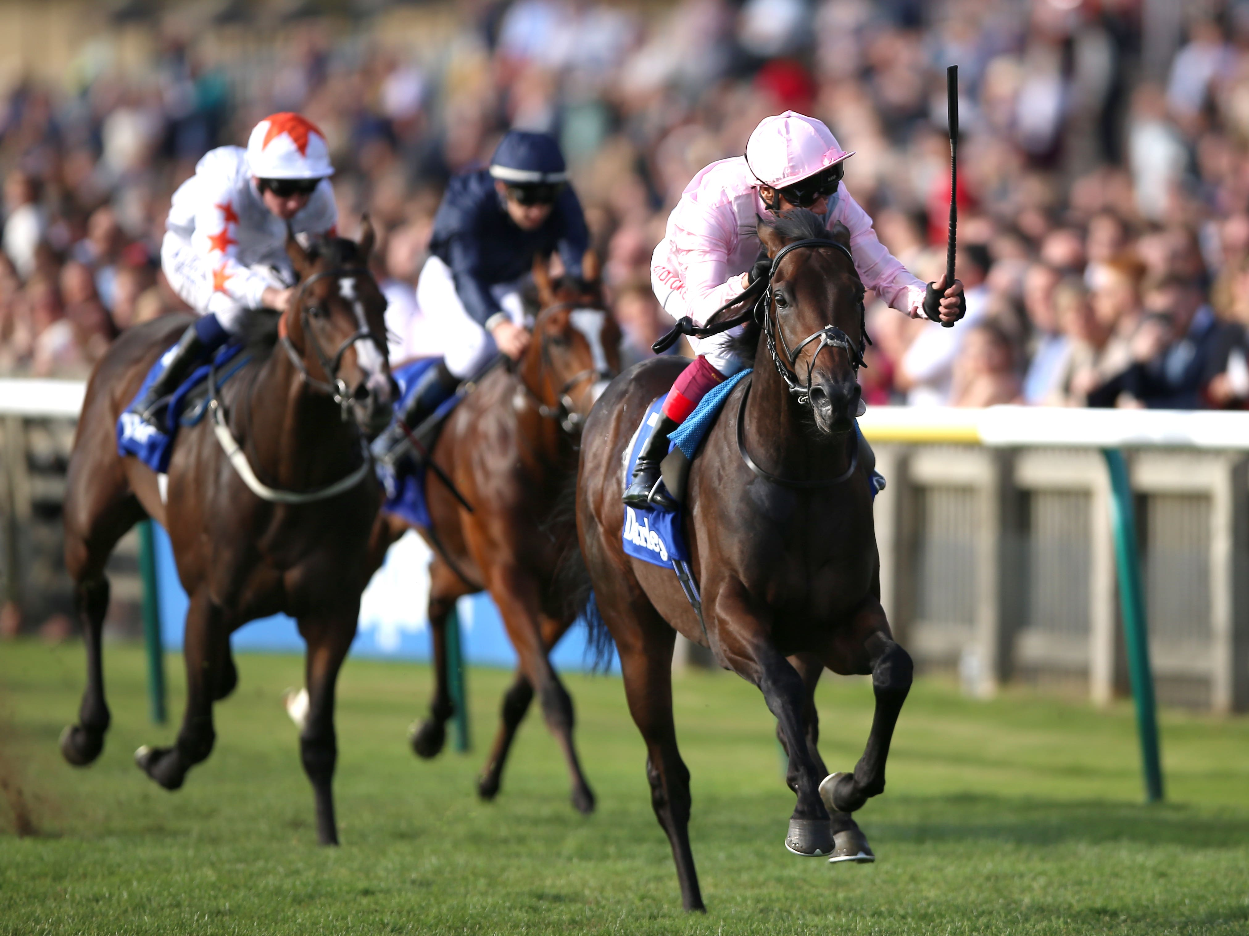 Too Darn Hot and Frankie Dettori on the way to winning the Dewhurst Stakes (Nigel French/PA)