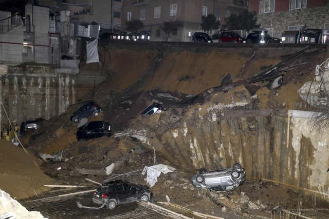 The scene after the sinkhole opened in Rome