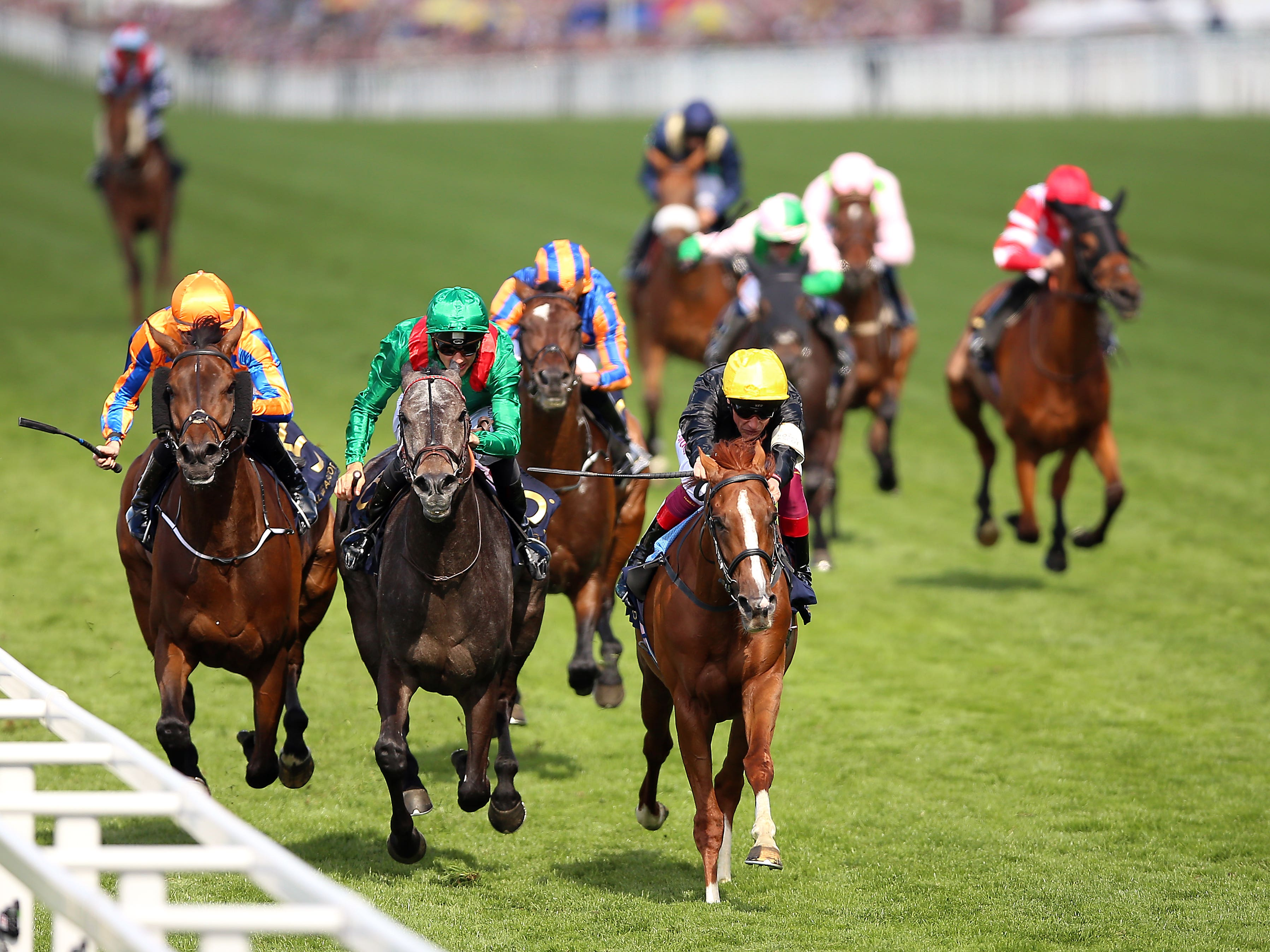 Vazirabad (grey) chases home Stradivarius in the Gold Cup at Royal Ascot (Nigel French/PA)