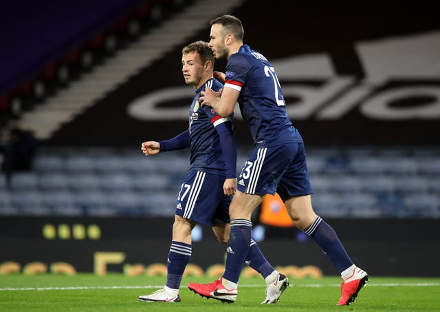 Ryan Fraser, left, celebrates his goal