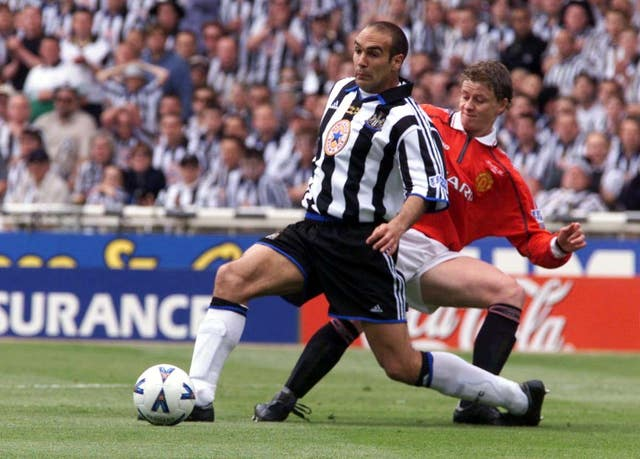 Ole Gunnar Solskjaer in action in the 1999 FA Cup final against Newcastle