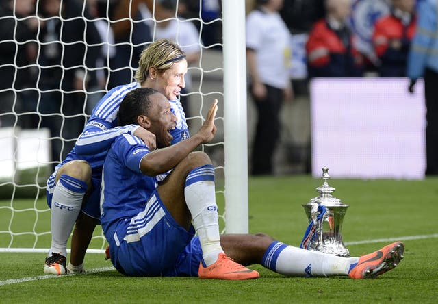 Torres and Didier Drogba celebrate victory in the 2012 FA Cup final