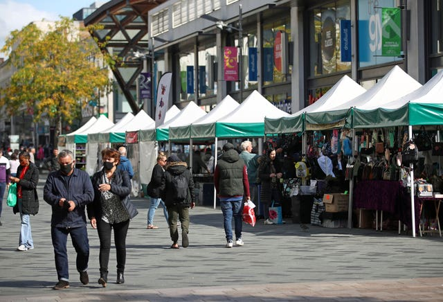 Market stalls remain open at The Moor Open Market in Sheffield, South Yorkhire, some six months on from the evening of March 23 when Prime Minister Boris Johnson announced nationwide restrictions
