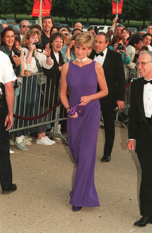 The Princess of Wales arrives at the Field Museum in Chicago, wearing a Versace dress to attend a fund raising gala dinner (John Stillwell/PA)
