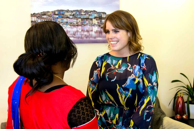 Princess Eugenie during a visit to a Salvation Army safe house