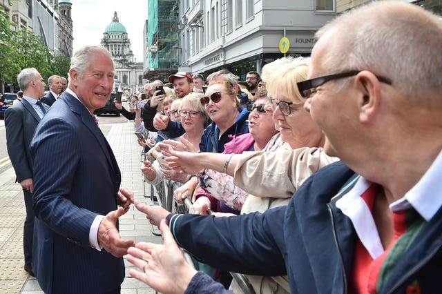 Greeting crowds in Belfast