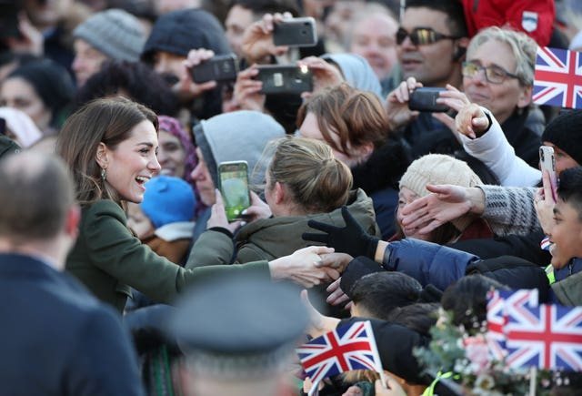 Hundreds of well-wishers turned out to get a glimpse of the royals (Danny Lawson/PA)