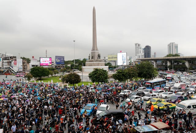 A rally at Victory Monument in Bangkok