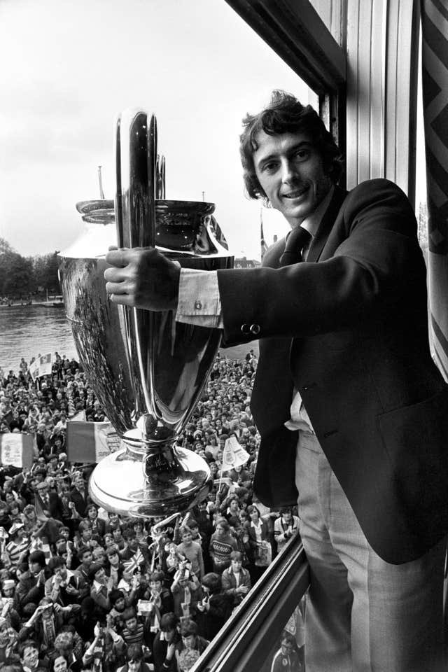 Trevor Francis shows off the European Cup trophy on Nottingham Forest's victory parade in 1979