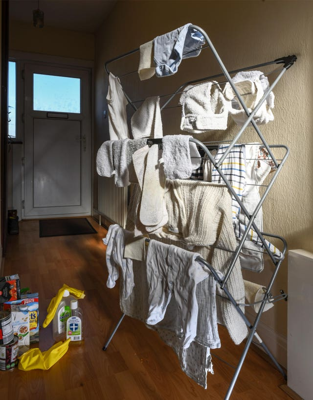 A photo issued by Historic England from its Picturing Lockdown Collection of nappies drying and food product waiting to be disinfected taken by Historic England photographer Chris Redgrave at home in Harrow, north London