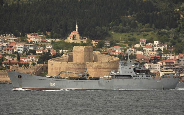 A Russian Navy ship crosses through the Dardanelles strait in Turkey en route to the Mediterranean Sea (AP)