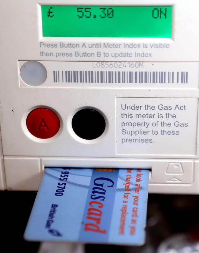 A general view of a card in a British Gas meter.