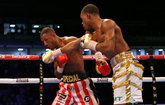 Errol Spence Jr, right, beat Kell Brook in Sheffield last year (Richard Sellers/PA)